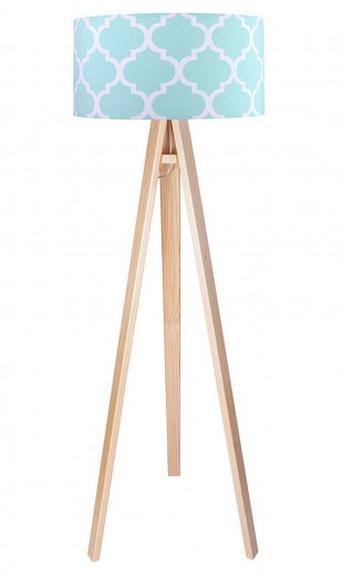 Stehlampe Farbig Braun Blau Stoff Dreibein 140cm Retro
