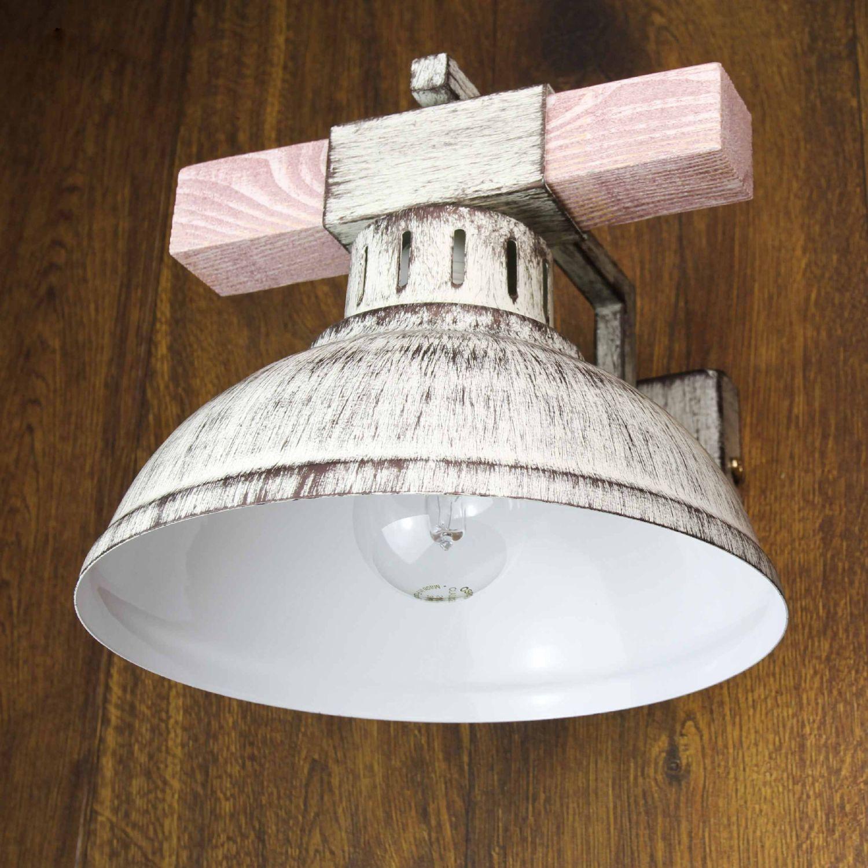 Shabby Chic Wandlampe Weiß HAKON mit Echt Holz