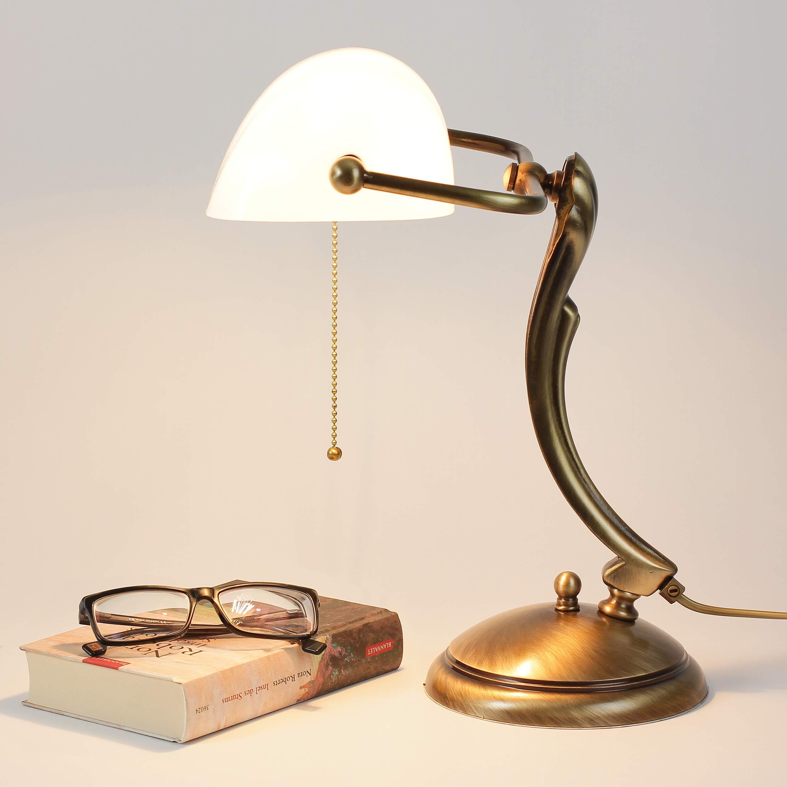 Bankerlampe Bronze aus Messing mit Schirm Weiß