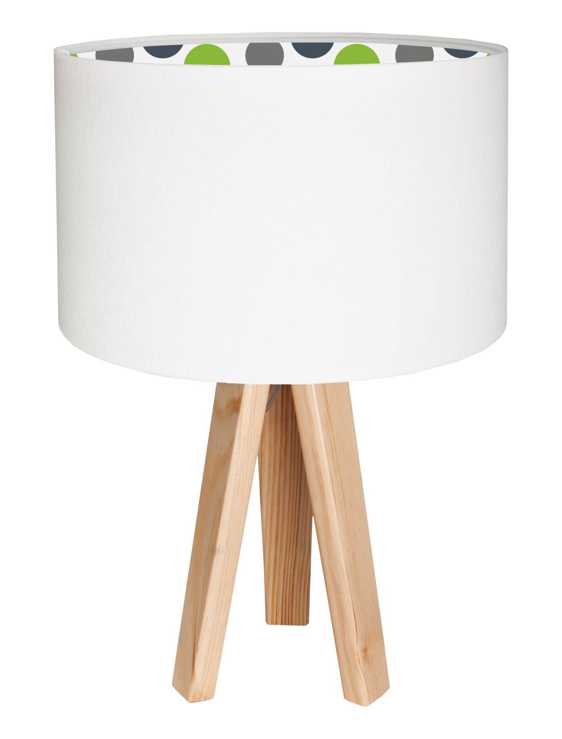 Tischlampe NAOMI Weiß gepunktet Kinder Dreibein 46cm