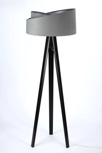 Stehlampe Grau Silber Holz Dreibein 145cm Wohnzimmer