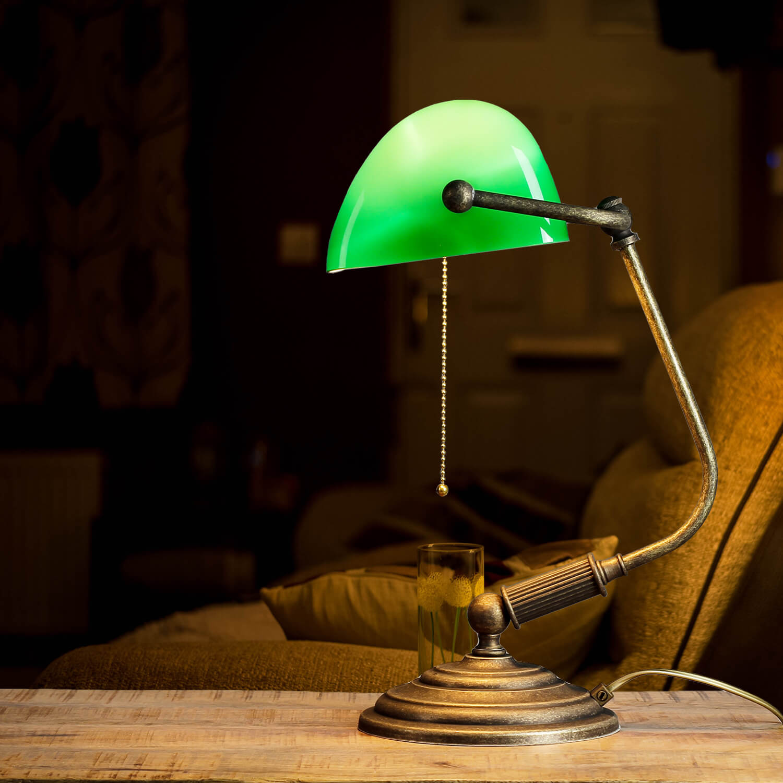 Bankerlampe Grün aus Messing in Bronze Rustikal