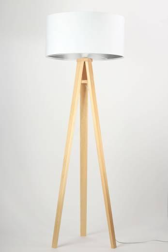 Standleuchte Weiß Holz Dreibein 145cm Retro Wohnzimmer