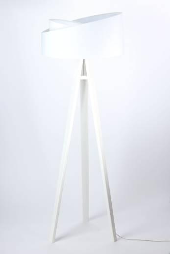 Stehleuchte Schirm Weiß Holz Dreibein 145cm Wohnzimmer