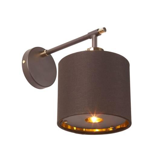 Designer Wandlampe Braun Gold Stoff wohnlich CIRCULAR