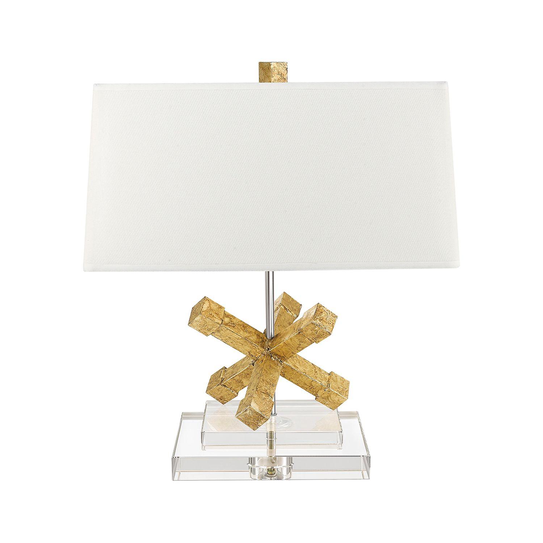 Tischlampe CERAS Gold Weiß H:46cm Wohnzimmer Lampe