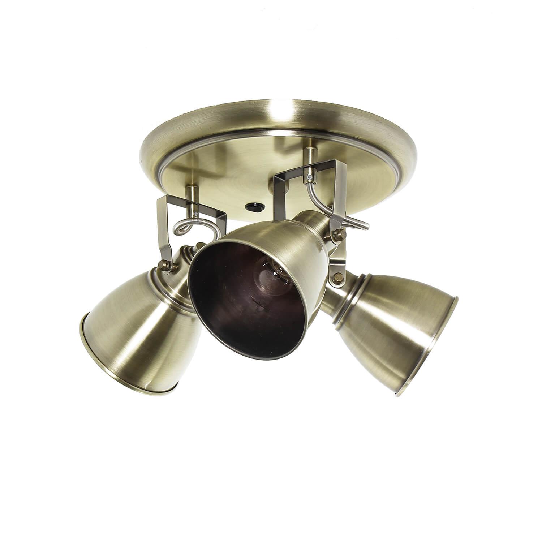 Deckenstrahler Metall 3-flammig in Messing rund