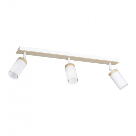 Langer Strahler Wohnzimmer L:72cm Weiß mit Holz GU10
