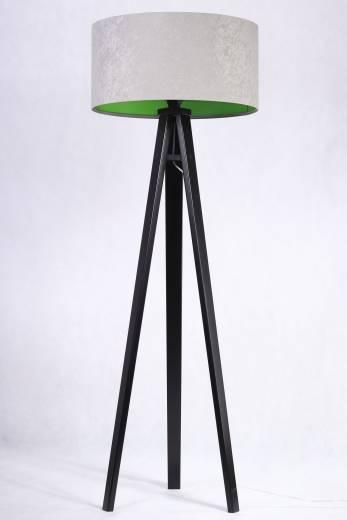 Stehlampe Grau Grün Retro Dreibein 145cm Wohnzimmer