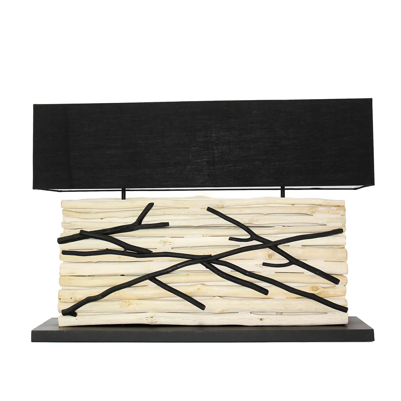 Design Tischlampe Treibholz Stoffschirm 80 cm lang