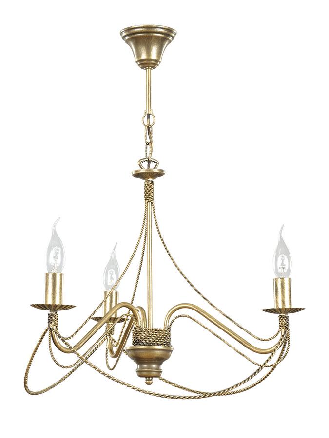 Kronleuchter Gold Metall Rustikal 3-flammig E14