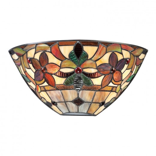 Wandleuchte FARFALLA 6 Bronze B:37cm Tiffany-Stil