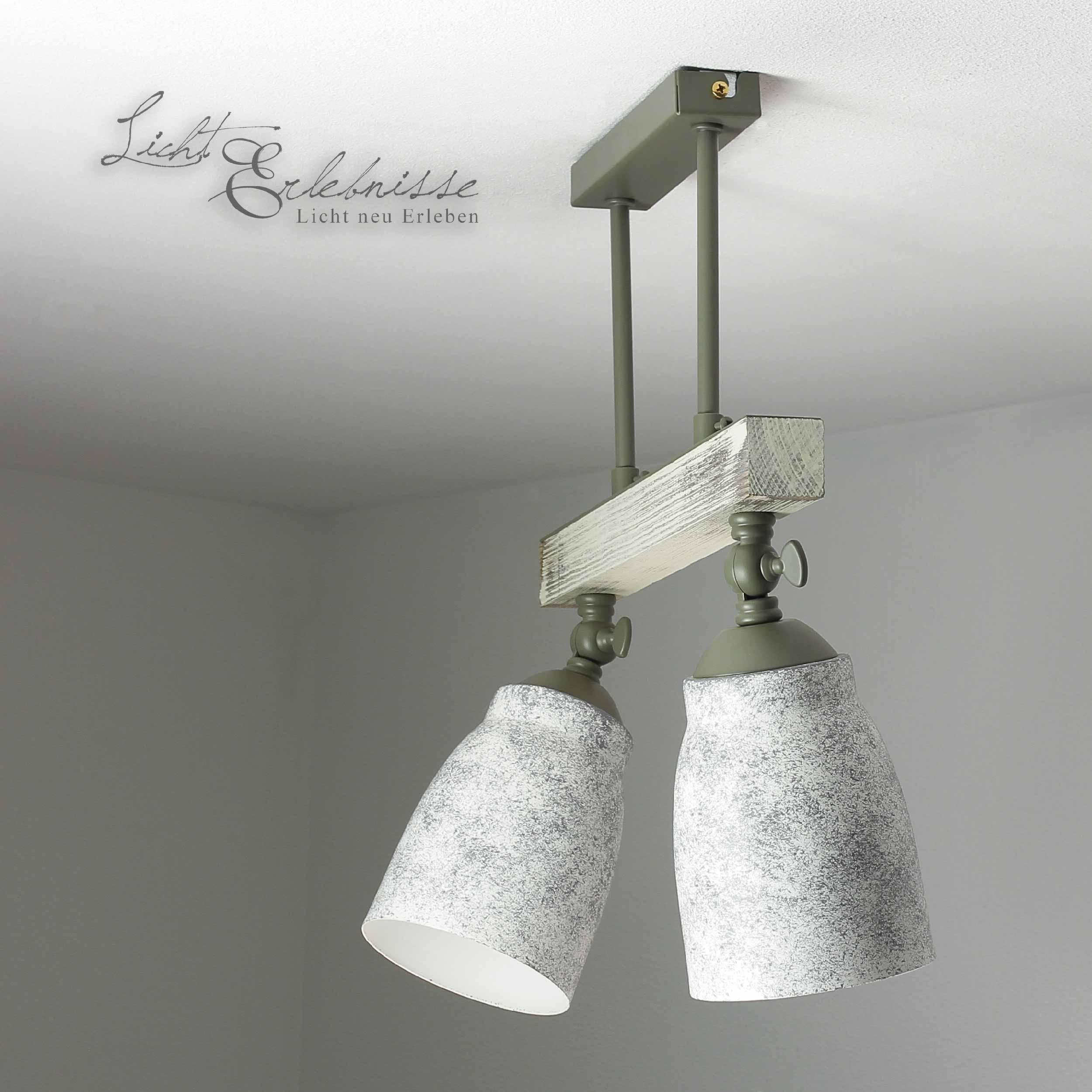 Vintage Deckenlampe drehbar Shabby Weiß Taupe AGAP
