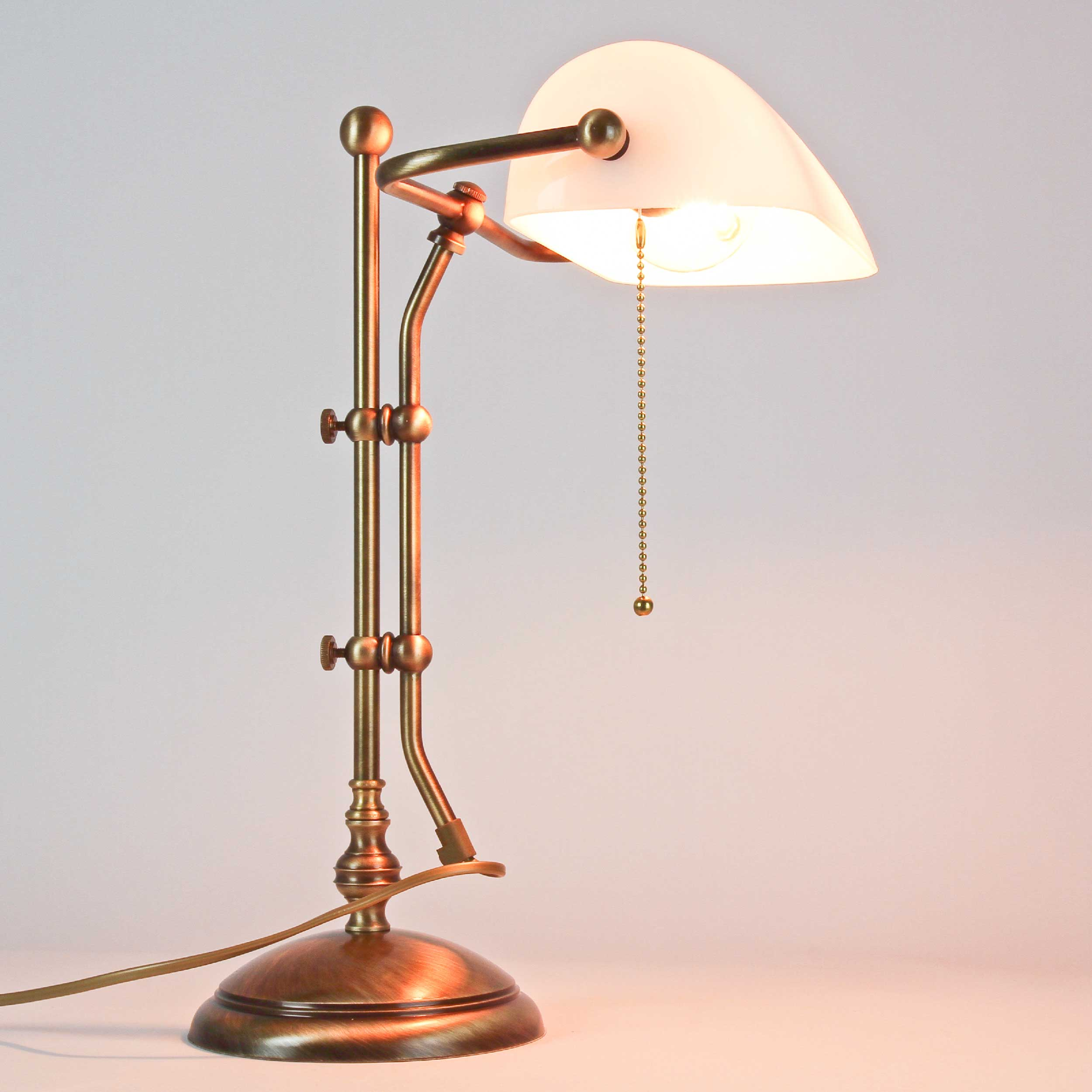 Tischlampe Messing in Bronze mit Glas Premium