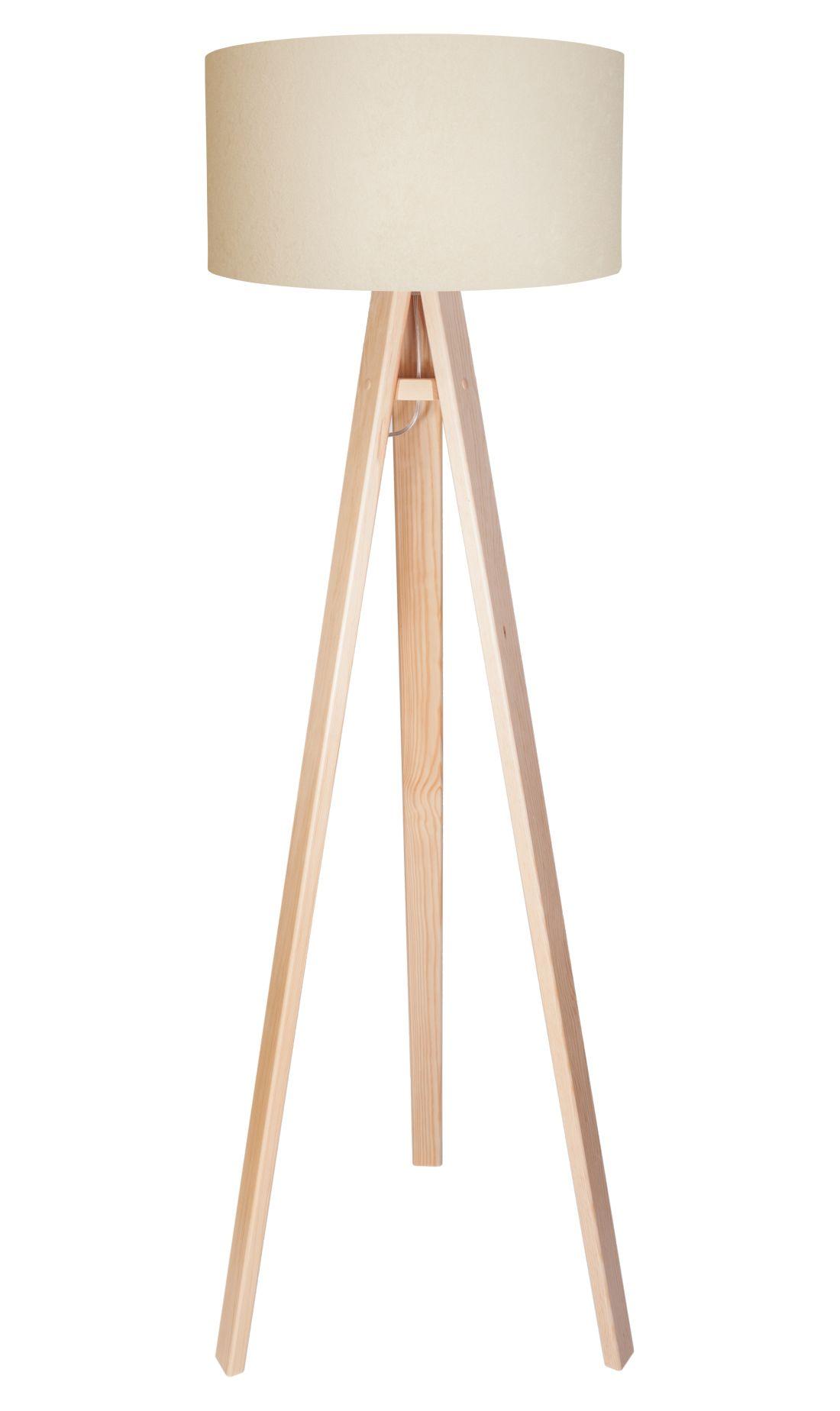 Standlampe Holzleuchte Wohnzimmer Creme Weiß Dreibein