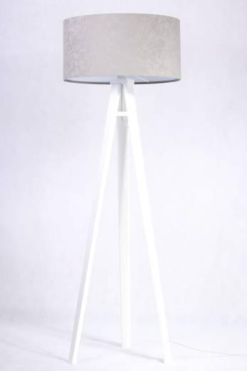 Stehlampe Klein Holz Grau Weiß Wohnzimmer Retro
