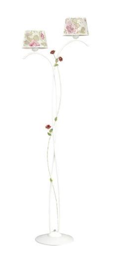 Stehlampe Landhausstil Wohnzimmer Stoff Weiß Rosen