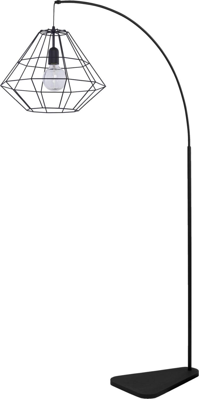 Stehlampe Bogenlampe Schwarz Metall Schirm eckig