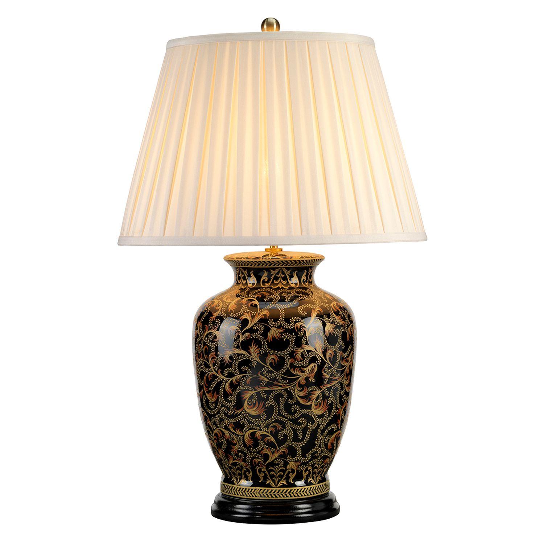 Tischlampe ELYA Schwarz Gold H:74cm Vintage Lampe