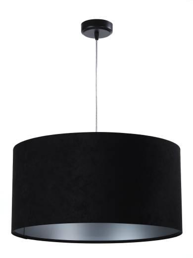 Pendelleuchte Esstisch Schwarz Silber Stoff Lampe