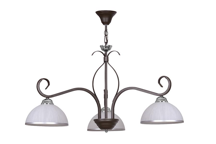 Deckenleuchte Braun Weiß Glas satiniert 3-flammig