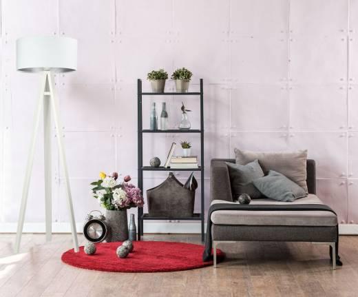 Stehlampe ROSIE Weiß Silber Retro Dreibein 140cm