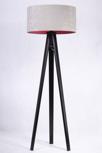 Grau pinke Stehlampe Holz 145cm Retro Wohnzimmer