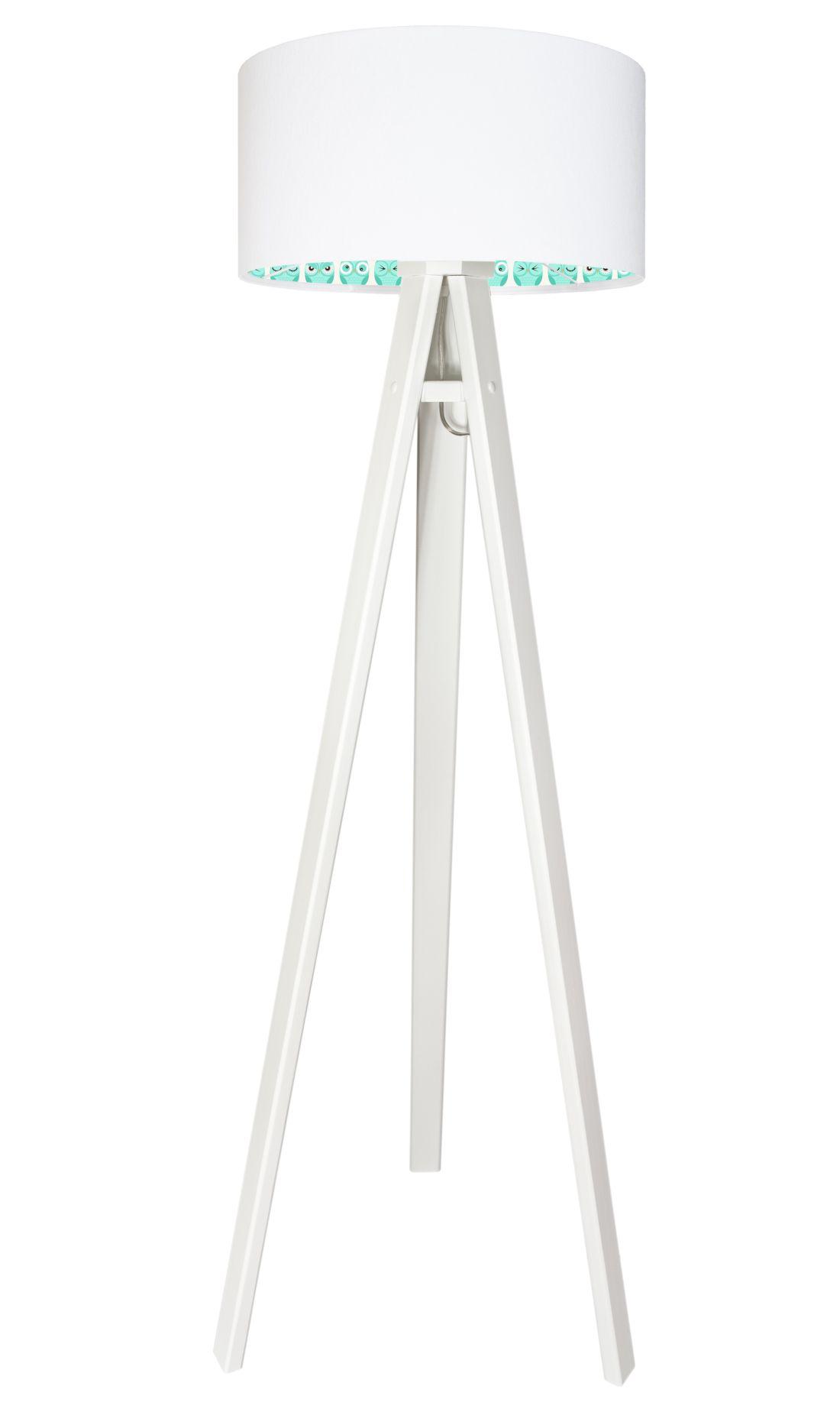 Holz Stehlampe Weiß Eulen Kinder Dreibein 140cm Lampe