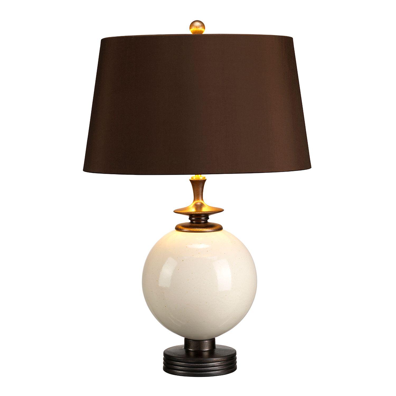 Tischlampe Stoffschirm Keramik Braun Creme Klassisch