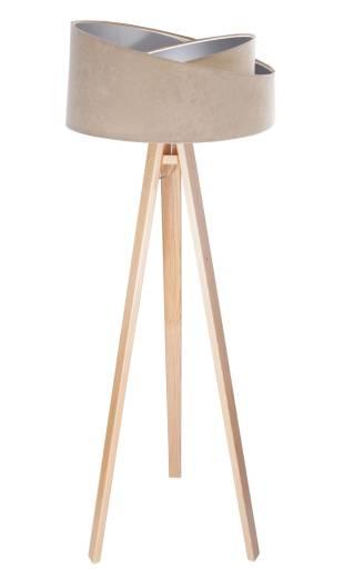 Stehlampe Holzbeine Beige Silber 145cm Wohnzimmer