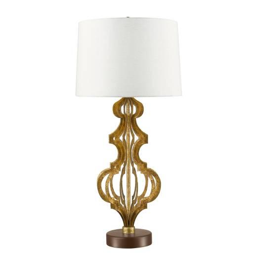 Tischleuchte DORUTI in Gold Weiß Ø41cm H84cm Lampe