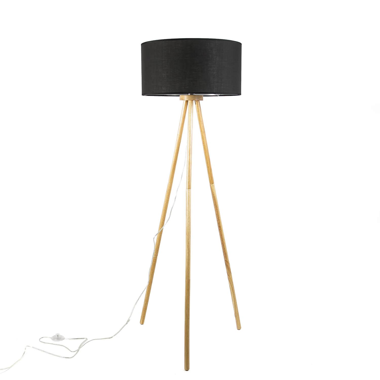 Skandinavische Stehlampe Dreibein Holz Stoff E27