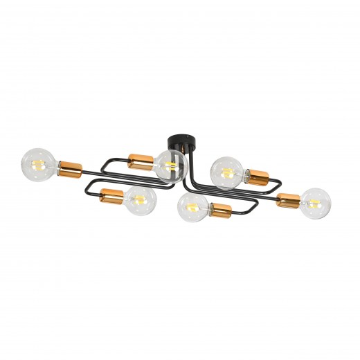 Deckenlampe Schwarz Kupfer Retro Industrie 6x E27