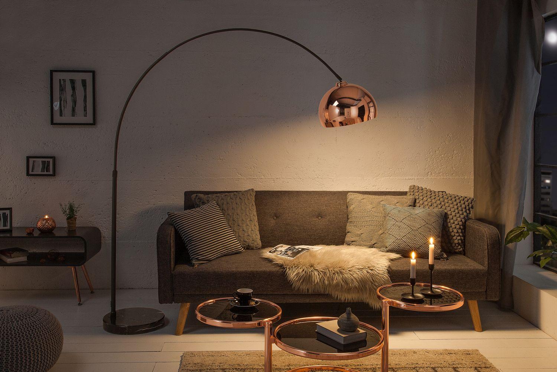 Bogenlampe Bauhaus Design verstellbar in Roségold