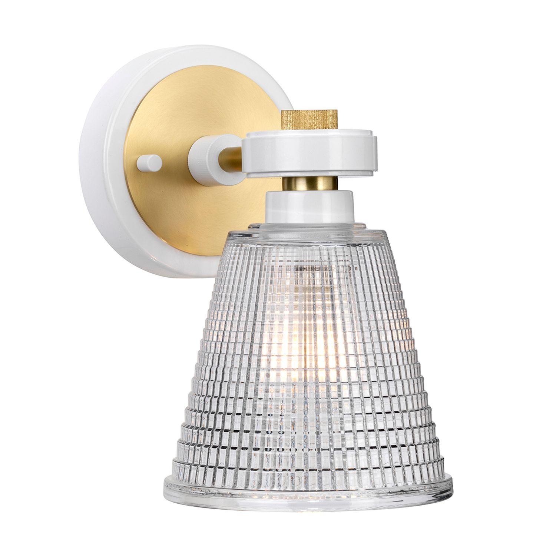 LED Badlampe Glas IP44 verstellbar in Messing Weiß