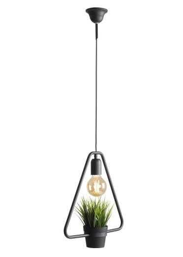 Schwarze Hängeleuchte Metall mit Topf Modern Design