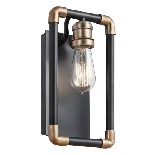 Wandlampe DREVO Schwarz Messing Vintage Lampe