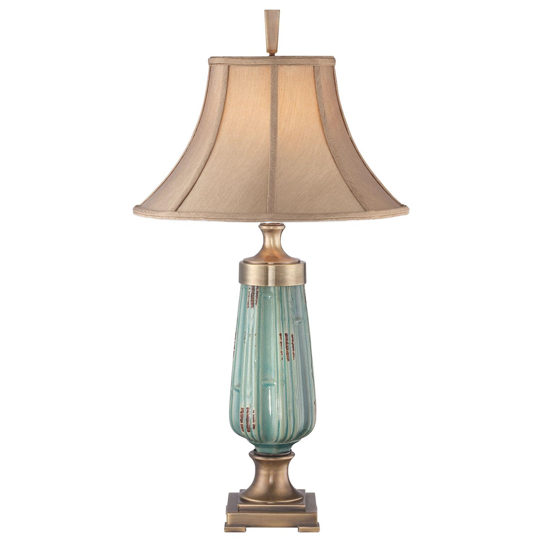 Vintage Tischlampe Keramik Grün Beige H:86cm