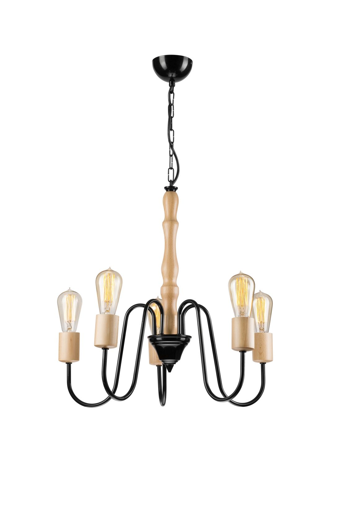 Kronleuchter Holz 5-flmg Modern Esstisch Lampe