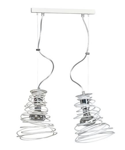 Design Hängeleuchte Spirale Weiß 2-flammig E27