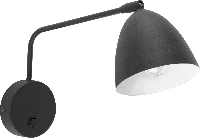 Wandlampe mit Schalter Schwarz Weiß matt Metall