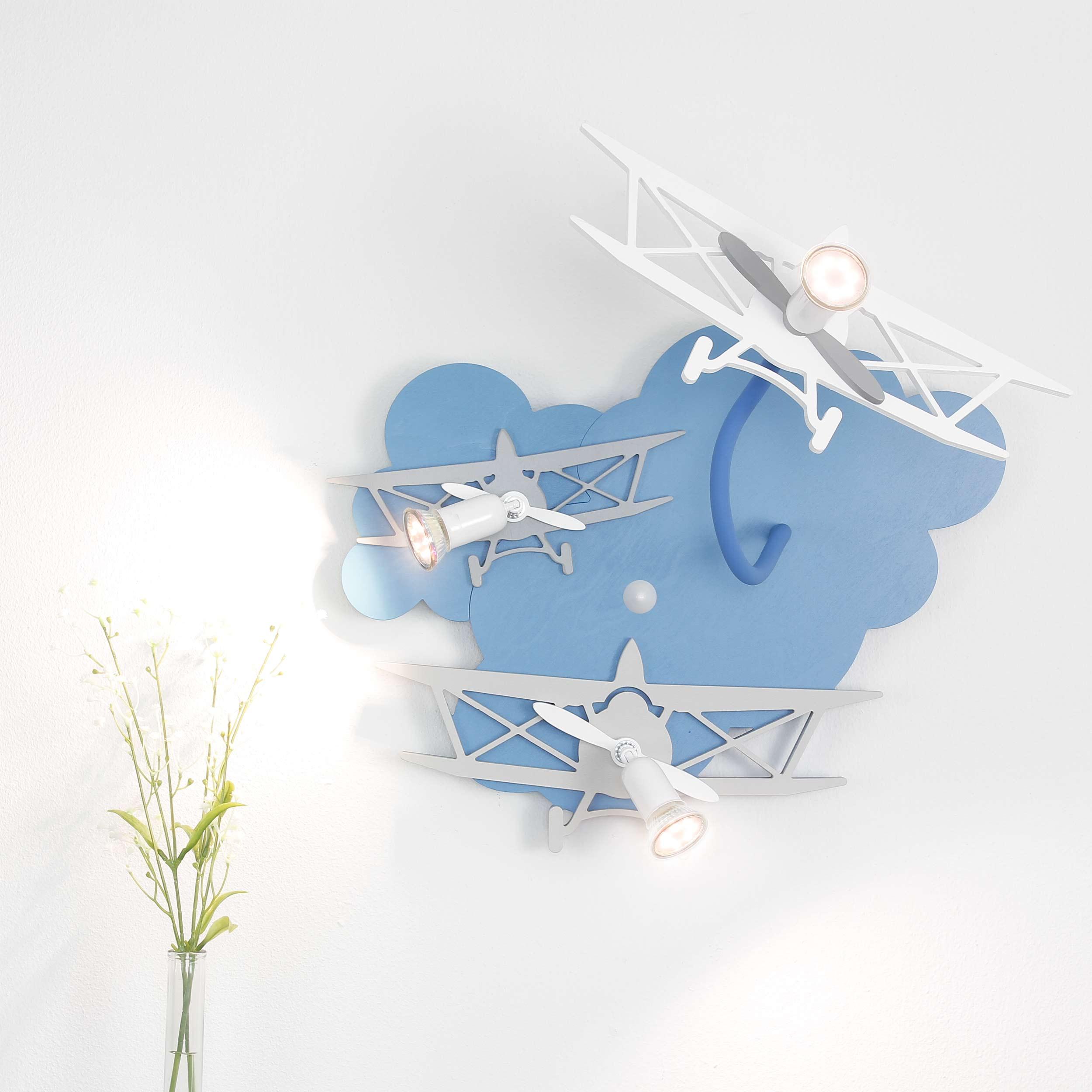 Kinderleuchte PLANE in Blau 3-flmg