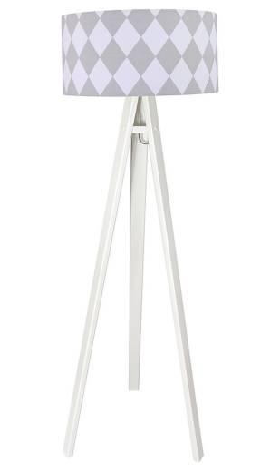 Stehlampe ERIK Weiß Grau 140cm Retro Wohnzimmer