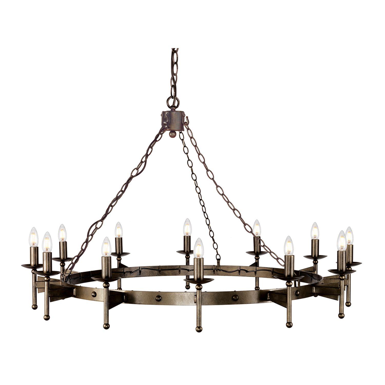 Mittelalterlicher Kronleuchter Schmiedeeisen groß Ø1,3m
