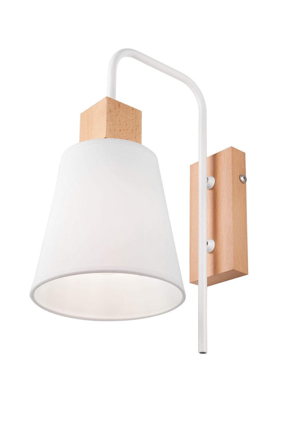 Wandlampe Schirm Weiß Holz Skandinavisch REILLY