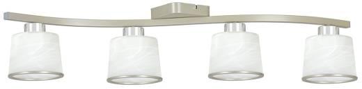 Deckenleuchte Weiß Metall Glasschirme 4-flammig E27