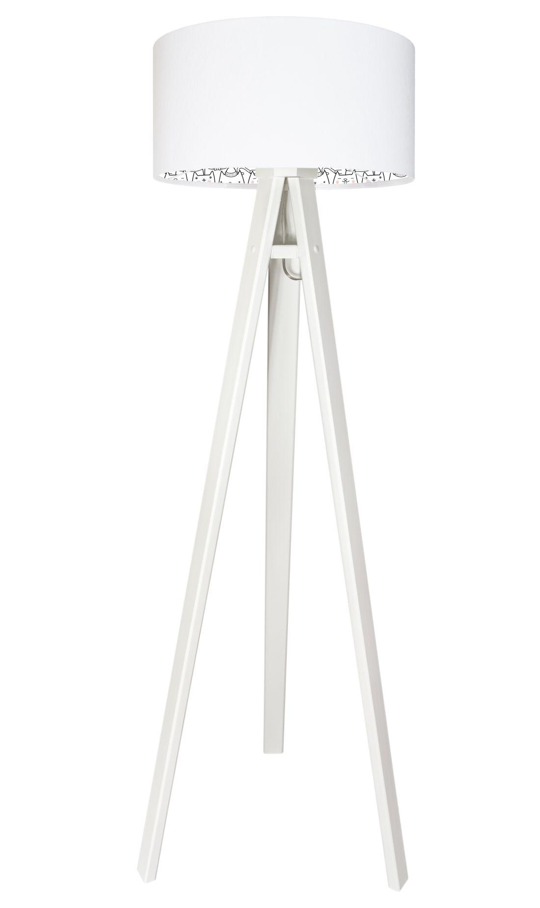 Stehlampe KITTENS Weiß Katzen Kinder Dreibein 140cm