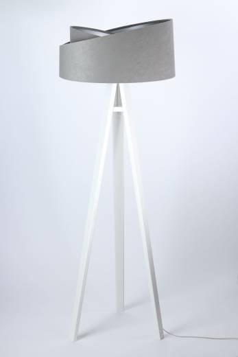 Stehlampe Schirm Grau Silber Holz Dreibein 145cm