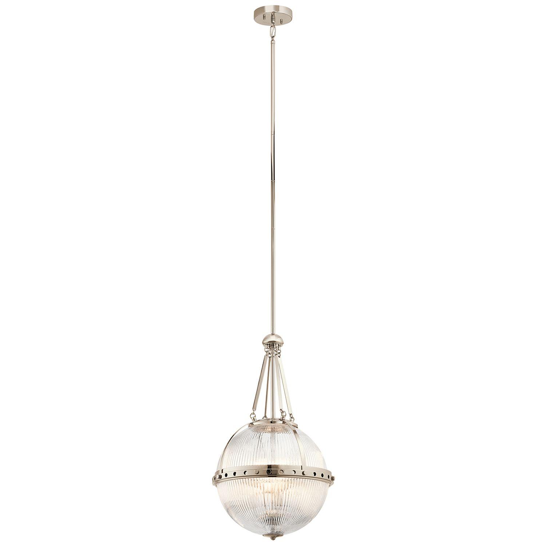 Art Déco Lampe Glas Schirm Höhe verstellbar in Nickel