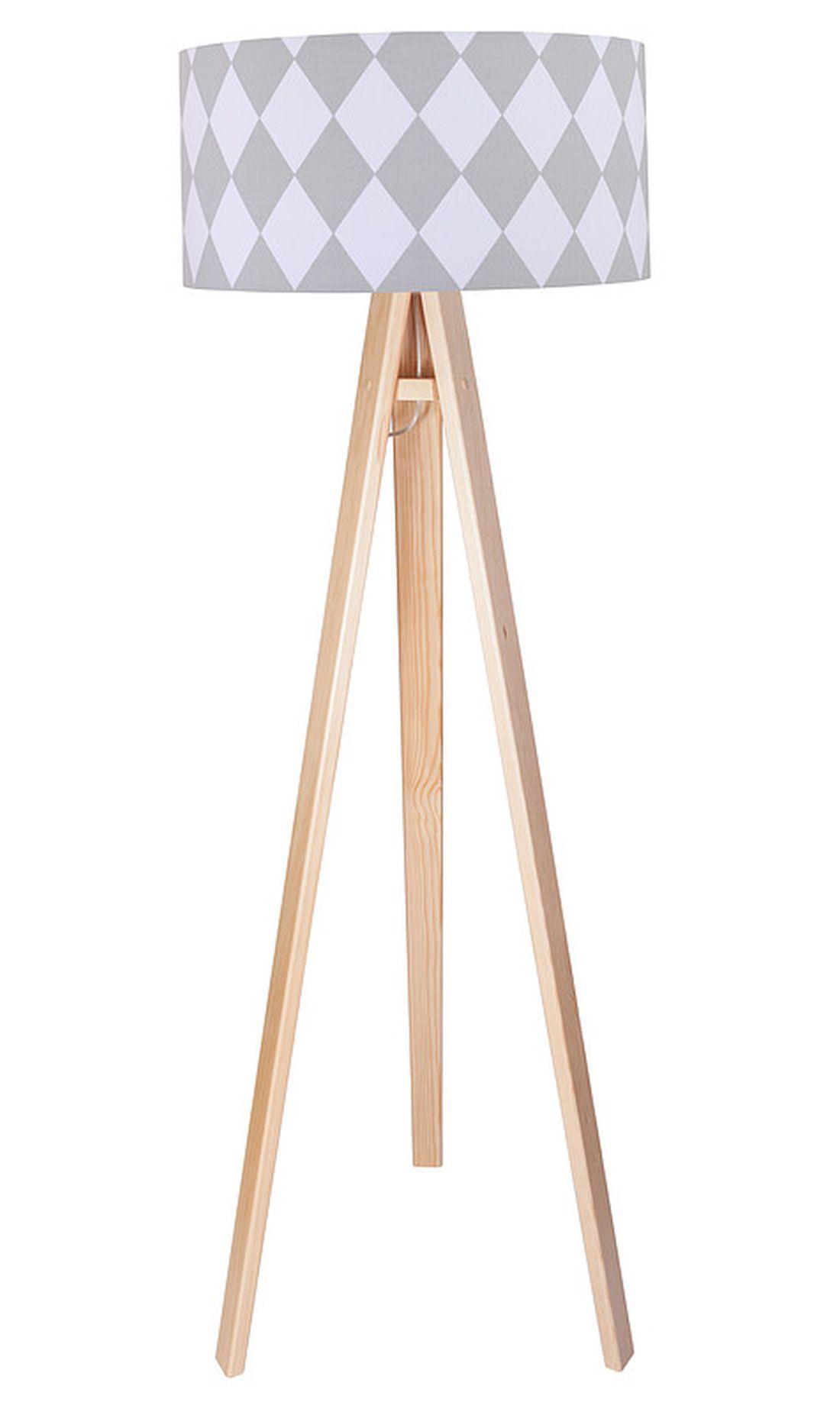 Stehlampe Holz Braun Grau Retro 140cm Wohnzimmer